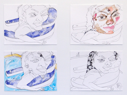 Schandra Singh – God Don't Like Ugly - Studies for Shelly, 2014. Ink and watercolor on paper, 9 x 12 inches each.