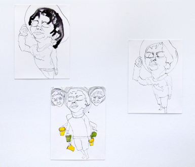 Schandra Singh – God Don't Like Ugly - Studies for Shiva, 2014. Ink and watercolor on paper, 12 x 9 inches each.