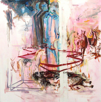 """Shanna Waddell – """"Misshapen Chaos of Well-seeming Forms!"""" - Shanna Waddell, 7th & Molino in the Garage, 2010. Oil on canvas, 71 x 71 in."""