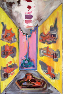 """Shanna Waddell – """"Misshapen Chaos of Well-seeming Forms!"""" - Shanna Waddell, Altarpiece - Hale Bop Remnants, 2010. Oil on canvas, 30 x 20 in."""