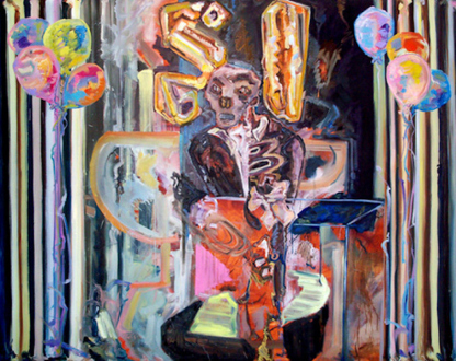 """Shanna Waddell – """"Misshapen Chaos of Well-seeming Forms!"""" - Shanna Waddell, Harold Camping - false Prophet, 2010. Oil on canvas, 76 x 96 in."""