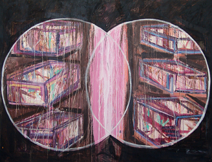Handshakes – Elaine Stocki, Whitney Claflin, Ian Campbell - Shanna Waddell, Heaven's Gate and the Two Witnesses, 2010. Acrylic on canvas, 72 x 95 in.