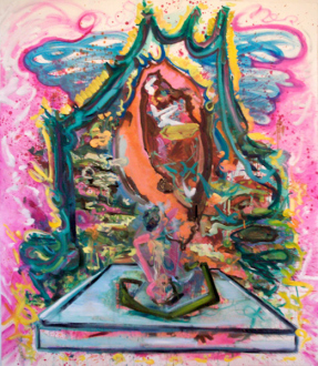 """Shanna Waddell – """"Misshapen Chaos of Well-seeming Forms!"""" - Shanna Waddell, Marital Bed, 2010. Oil on canvas, 84 x 72 in."""