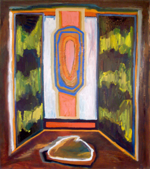 """Shanna Waddell – """"Misshapen Chaos of Well-seeming Forms!"""" - Shanna Waddell, Medicine Cabinet Altarpiece 2, 2010. Oil on canvas, 37.5 x 33.5 in."""