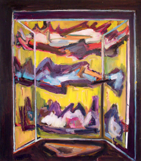 """Shanna Waddell – """"Misshapen Chaos of Well-seeming Forms!"""" - Shanna Waddell, Medicine Cabinet Altarpiece 1, 2010. Oil on canvas, 37.5 x 33.5 in."""