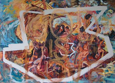 Handshakes – Elaine Stocki, Whitney Claflin, Ian Campbell - Shanna Waddell, The Raft of Medusa, 2010. Acrylic on canvas, 77 x 105 in.