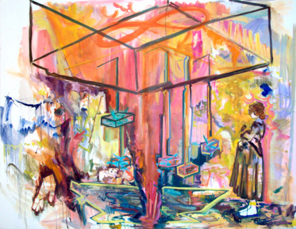 """Shanna Waddell – """"Misshapen Chaos of Well-seeming Forms!"""" - Shanna Waddell, Woman Peering into Atomic Nuclear Illusionistic Space, 2010. Oil on canvas, 60 x 78 in."""