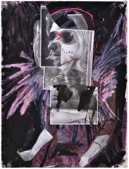 Shanna Waddell – (it's like) roadside stuffed animals - Untitled (Kurt Cobain), 2013. Paint and collage on paper, 30 x 22.5 in.