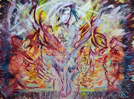 Shanna Waddell – (it's like) roadside stuffed animals - Untitled (Satan), 2013. Oil on canvas, 77 x 105 in.