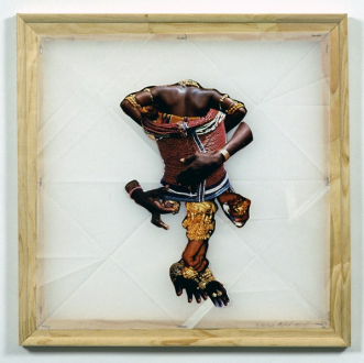 Mike Cloud - <i>Bride Prince</i>, 2004, Collage on vellum with stretcher bars, 18 x 18 inches