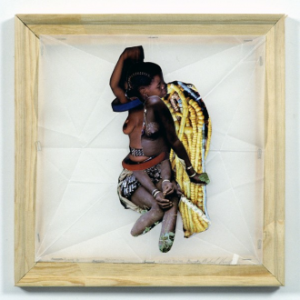 Mike Cloud - <i>Young Girl Becoming Sexual Being</i>, 2004, Collage on vellum with stretcher bars, 13 x 13 inches