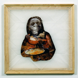 Mike Cloud - <i>Libation</i>, 2004, Collage on vellum with stretcher bars, 18 x 18 inches