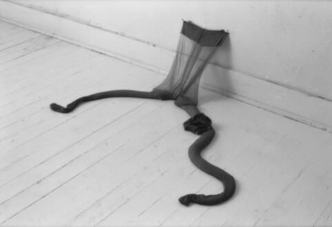 Nylon Mesh - <i>R.S.V.P. VI</i>, fall 1976 (original piece/documentation) Nylon mesh, sand 3 x 1 x 1.5 feet