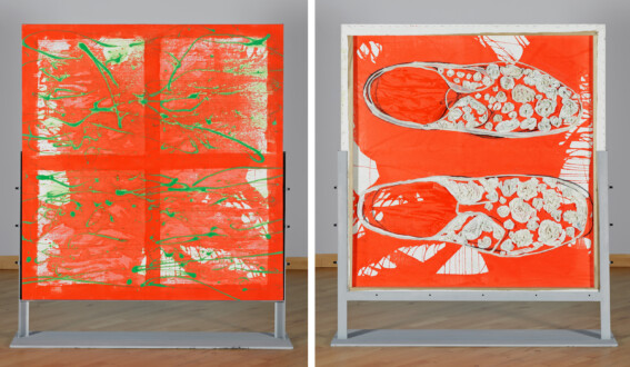 Dona Nelson – Double sided paintings - <i>Shoe Painting</i>, 2011. Acrylic and mixed media on canvas, 59 × 56 in.