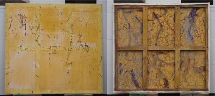 Dona Nelson – Double sided paintings - <i>Rye Gold</i>, 2015. Acrylic and acrylic medium on canvas, 70 × 75 in.