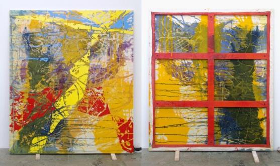 Dona Nelson – Double sided paintings - <i>Yellow Bird</i>, 2014. Acrylic and acrylic medium on canvas, 80 × 76 in.