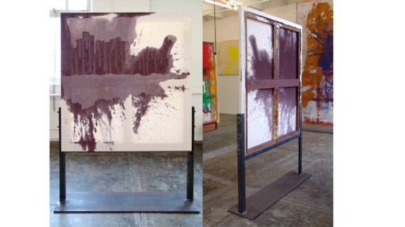 Dona Nelson – Double sided paintings - <i>Division Street</i>, 2013. Acrylic and acrylic medium on canvas, 56 × 50 inches