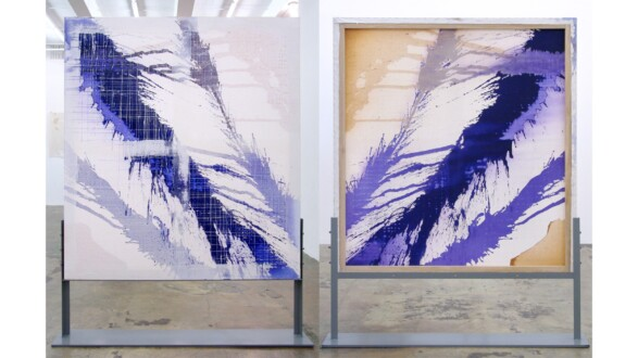 Dona Nelson – Double sided paintings - <i>Quill</i>, 2012. Acrylic and acrylic medium on canvas, 60 × 54 in.