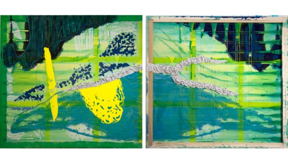 Dona Nelson – Double sided paintings - <i>Pool Side</i>, 2012. Acrylic and muslin on canvas, 82 × 79 in.