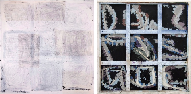 Dona Nelson – Double sided paintings - <i>Morpheus</i>, 2009. Acrylic mediums and cheesecloth on canvas, 84 × 83 1/2 in.