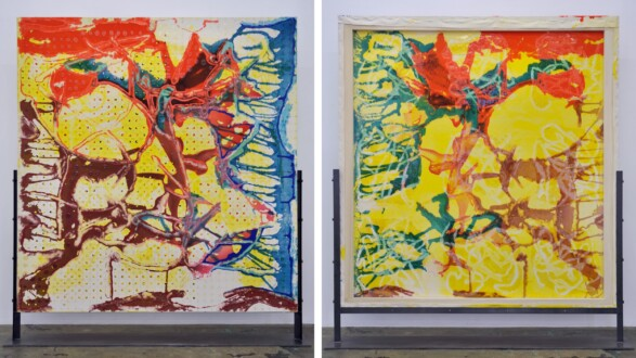 Dona Nelson – Double sided paintings - <i>Early September</i>, 2020. Acrylic and acrylic medium on canvas, 83 × 78 in.