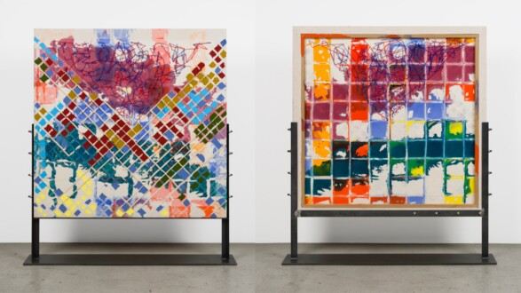 Dona Nelson – Double sided paintings - <i>Hairy Chest</i>, 2019. Acrylic, cheesecloth and painted string on canvas,  50 × 51 in.