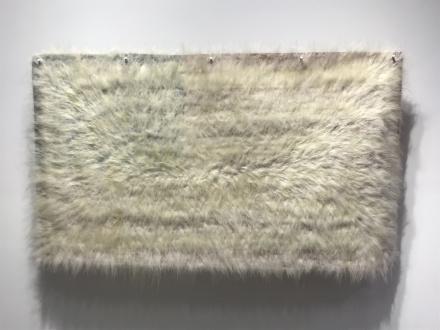ecofeminism(s) curated by Monika Fabijanska - Sonya Kelliher-Combs (Native American, b. 1969) Mark, Polar Bear, 2019 Acrylic polymer, polar bear fur, fabric flag, metal brackets, 40 x 65 in ©2019 Sonya Kelliher-Combs. Courtesy of the artist and Minus Space.