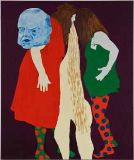 Los Angeles Bound – Diedrick Brackens, Thomas Lawson, Tiffany Livingston, Mark Roeder - Thomas Lawson, Confrontation: Headbangers, 2010. Oil on canvas, 72 x 60 inches