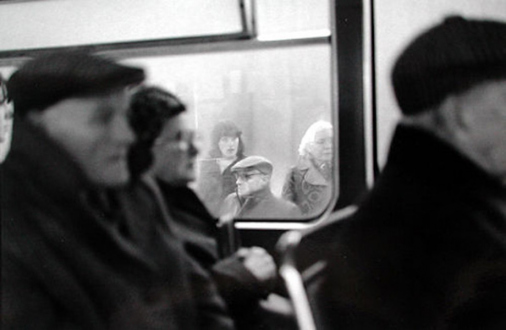 Tom Wood – The Bus Project - Between Wallasey and Birkenhead, 1979. B/W print, 6.5 x 10 in, edition of 6 (+1 AP).