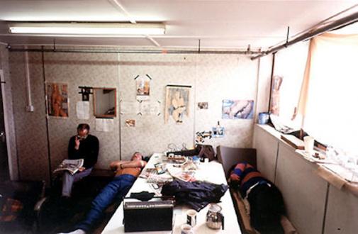 Andrej Monastyrskij, Dona Nelson, Vargas-Suarez Universal, Tom Wood - Tom Wood Lunch Hour Shipyard, Birkenhead 1993. C-print, 6 x 9.5 in, ed. of 6 (+1 AP).