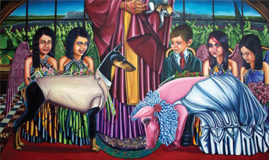 New Selections: South Asia – Vinod Balak, Faiza Butt, Hasan Elahi, Anoka Faruqee, Koshal Hamal, Ehsan ul Haq, Sreshta Rit Premnath, Schandra Singh - Vinod Balak: Wedding on a Holy Friday, 2010. Oil on canvas, 44.8 x 77.1 in.