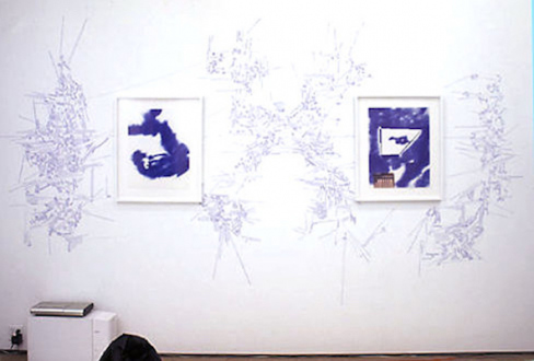 Andrej Monastyrskij, Dona Nelson, Vargas-Suarez Universal, Tom Wood - Vargas-Suarez Universal Blueprints, 1996/2000. Installation with 6 drawings (ballpoint pen on found paper) with wall drawings, white carpet, bean bags and soundtrack (partial view).