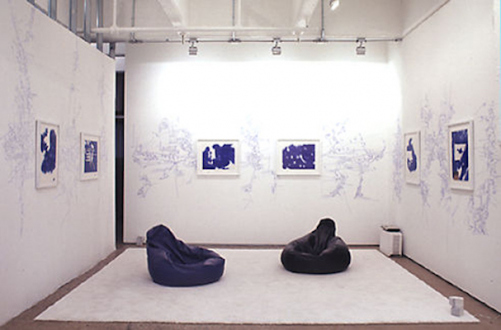 Andrej Monastyrskij, Dona Nelson, Vargas-Suarez Universal, Tom Wood - Vargas-Suarez Universal Blueprints, 1996/2000. Installation with 6 drawings (ballpoint pen on found paper) with wall drawings, white carpet, bean bags and soundtrack.