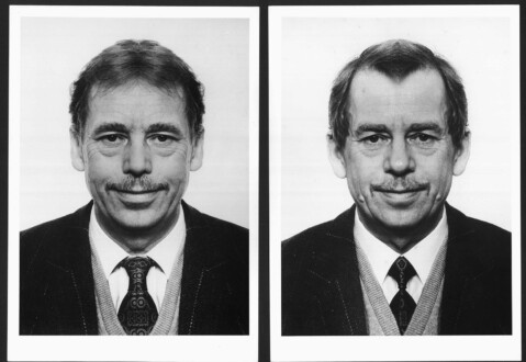 Middle European Mysticism - Jiří David, <i>Vaclav Havel</i> (diptych), 1993-1995. Altered photographs, silver gelatin prints on Baryta Paper, 100 x 140cm overall, edition of 5 (+ 1AP)