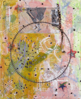 of certain instability – Whitney Claflin, Harriet Korman, Nolan Simon, Hans-Peter Thomas aka Bara - Whitney Claflin, <i>Untitled</i>, 2011. Oil, magazine, safety pin, newspaper, fabric, mirror studs, ceramic, wire and thread on canvas, 23 x 19 in.