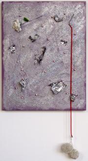 of certain instability – Whitney Claflin, Harriet Korman, Nolan Simon, Hans-Peter Thomas aka Bara - Whitney Claflin, <i>Untitled</i>, 2011. Oil, glitter, beads, Mylar, faux flower, necklace and earrings on canvas, 17 x 13 in (canvas size).