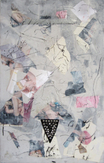of certain instability – Whitney Claflin, Harriet Korman, Nolan Simon, Hans-Peter Thomas aka Bara - Whitney Claflin, <i>Untitled</i>, 2011. Oil, magazine, duct tape, necklace studded appliqué and glitter on canvas drop cloth, 28 x 18 in.