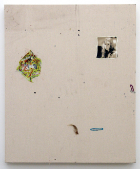 Whitney Claflin – As Long As You Get To Be Somebody's Slave, Too - Hates: Berets, Alexa Chung, When You Have to Pee Wicked Bad and There is No Starbucks Nearby. 2012. Oil, feather, magazine clippings, paper, spandex and thread on drop cloth, 36 x 30 in.