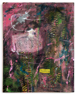Whitney Claflin – As Long As You Get To Be Somebody's Slave, Too - Isadora, 2012. Oil, sand, crepe paper, metal, glitter, thread, jewelry, staples, rayon and found fabric on canvas, 18 x 14 in.