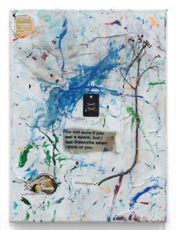 Whitney Claflin – As Long As You Get To Be Somebody's Slave, Too - Most Lies R Listening to Find You, 2012. Oil, hand-dyed fabric, spandex, magazine