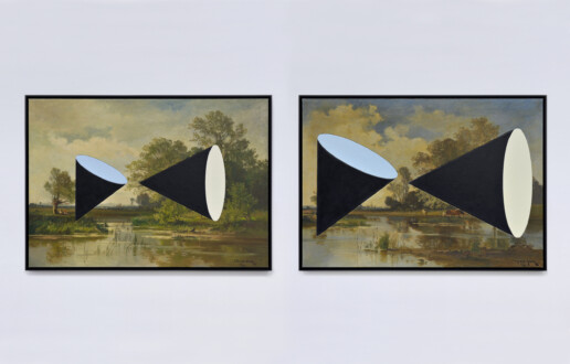Beautiful Numbers - <i>Water (1990/2015)</i>, 2021. 19th Century oil on canvas, mounted on masonite with inlays, 38 1/2 x 27 in.