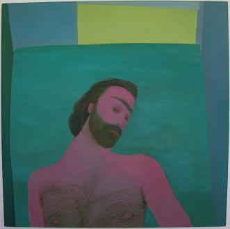 Soft Haze – Xinyi Cheng, Nabuqi, Ali Van - Xinyi Cheng, Goodnight, Thomas, 2013. Oil on linen, 37 x 37 in.