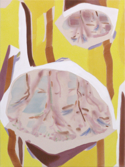 "Yuh-Shioh Wong – ""If your feet were anchored to the beach and the tide came in and covered your head, could you hold your breath until the tide went out?"" - Puddles in the Forest, 2011. Acrylic and aqua oil on canvas, 30 x 22 in."