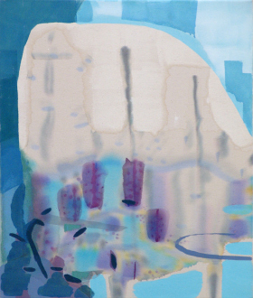 "Yuh-Shioh Wong – ""If your feet were anchored to the beach and the tide came in and covered your head, could you hold your breath until the tide went out?"" - Reflections at Moss Landing, 2011. Acrylic and aqua oil on canvas, 26 x 22 in."
