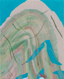 "Yuh-Shioh Wong – ""If your feet were anchored to the beach and the tide came in and covered your head, could you hold your breath until the tide went out?"" - Ridge, 2011. Acrylic and aqua oil on canvas, 20 x 16 in."