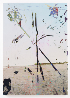 Spirited Densities – Ryan McLaughlin, Zach Nader, Ferdinand Penker, Emma Webster - Zach Nader, beach clock, 2018. UV ink and acrylic on etched panel, 40 x 28 in.