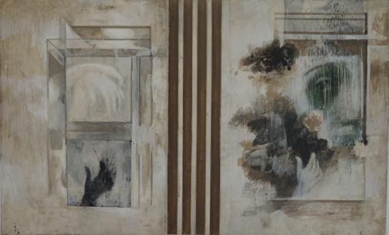 Contemporary Art from Pakistan – Huma Mulji, Bani Abidi, Naiza Khan, Hamra Abbas, Rashid Rana, Mahbub Shah, Zahoor Ul Akhlaq, Muhammad Zeeshan - Zahoor Ul Akhlaq: Untitled, 1991. Mixed media and acrylic on wood, 13 x 20.5 in. (Collection of Salima Hashmi.)