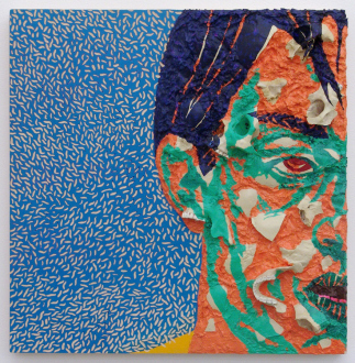 Paint as Figure – Kohei Akiba, Jonathan Delachaux, Jennifer Packer, Schandra Singh, Zheng Wei - Zheng Wei: Portrait No. 2, 2010. Woodcut and mixed media, 24 x 23 in.