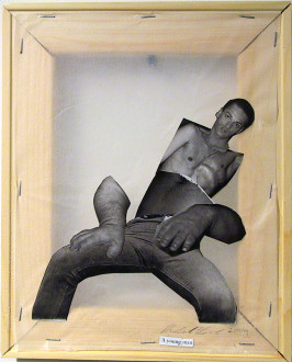 Mike Cloud - <i>Diane Arbus Hardcover: A young man</i>, 2004, Paper collage on vellum with stretcher bars, 11 x 9 inches/ ~28 x 23 cm