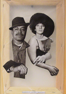 Mike Cloud - <i>Diane Arbus Hardcover: Brooklyn Jewish girl with a Mexican friend</i>, 2004, Paper collage on vellum with stretcher bars, 12 x 11 inches.